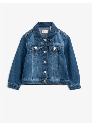 Koton Klasik Yaka Cepli Pamuklu Jean Ceket Mavi
